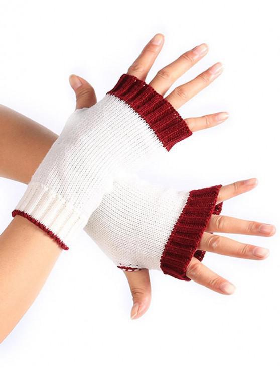 trendy Color Block Fingerless Gloves - WHITE