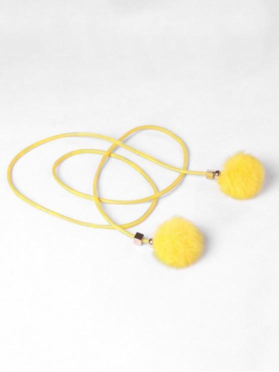 Fuzzy Balls Decorative Faux Leather Belt - الأصفر