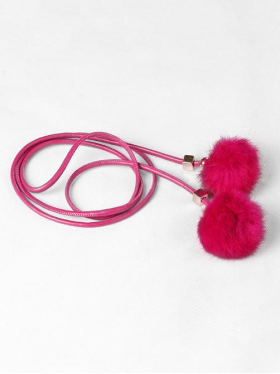 sale Fuzzy Balls Decorative Faux Leather Belt - ROSE RED