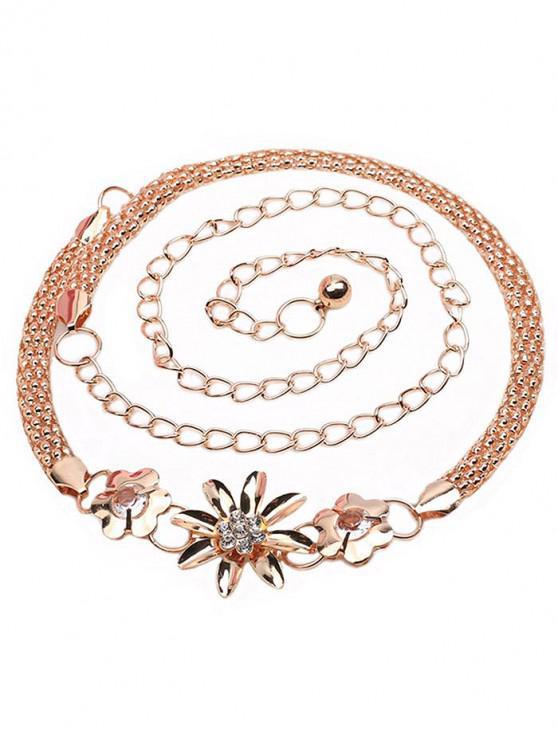 womens Vintage Rhinestone Floral Alloy Chain Belt - GOLD