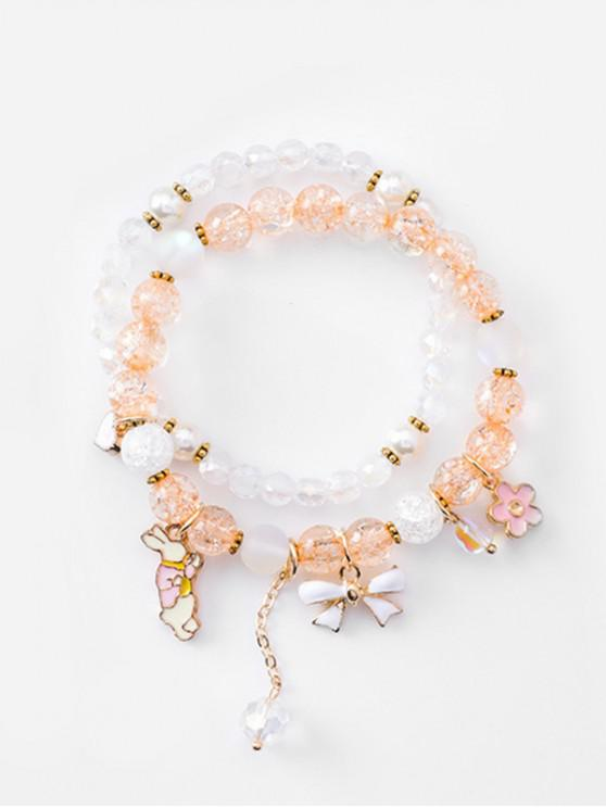 ladies Double Layered Bowknot Rabbit Beads Bracelet - CHAMPAGNE GOLD