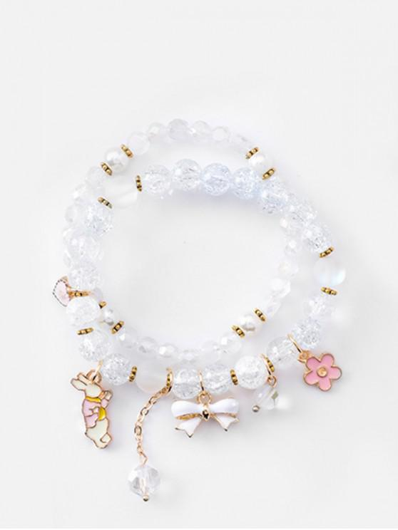 affordable Double Layered Bowknot Rabbit Beads Bracelet - LIGHT BLUE