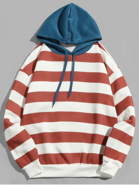fashion Contrast Striped Print Fleece Hoodie - CHERRY RED 2XL