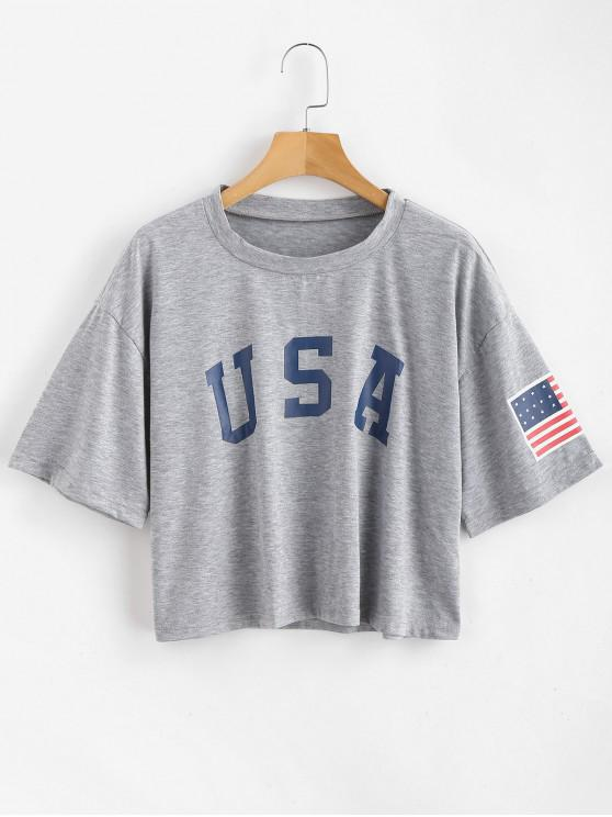 women ZAFUL American Flag Graphic Tee - GRAY GOOSE S
