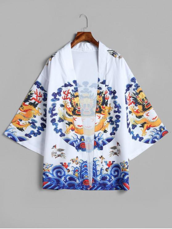 outfit Dragon Print Kimono Cardigan - WHITE 2XL