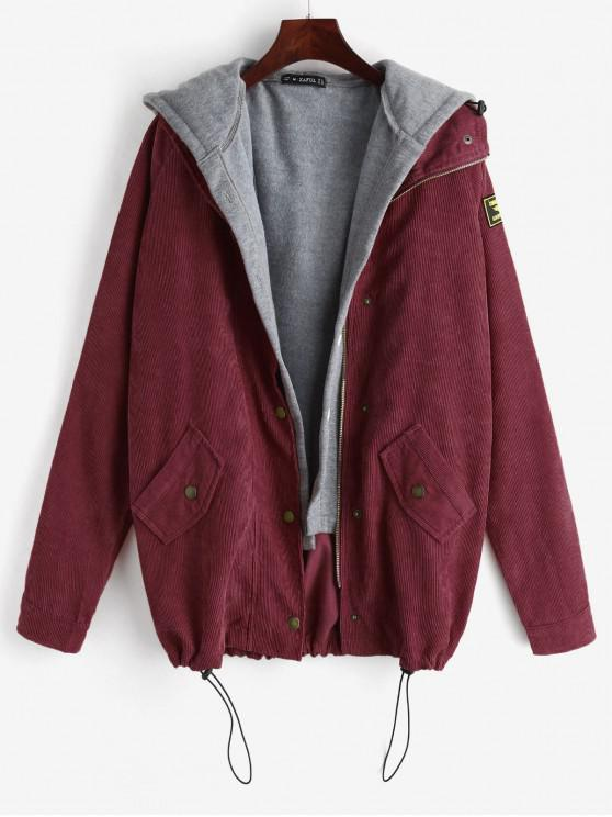 new ZAFUL Fleece Vest and Corduroy Jacket Twinset - FIREBRICK L
