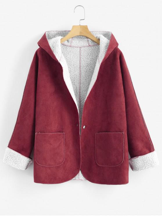 online Cuffed Sleeves Hooded Sheepskin Coat - RED XL