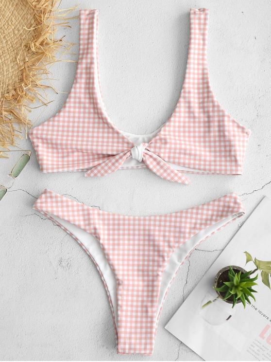 online ZAFUL Gingham Tie Front Bikini Set - PINK L