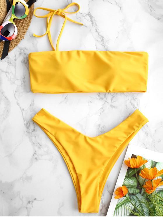 ladies ZAFUL One Shoulder Thin Strap Bikini Set - BRIGHT YELLOW L