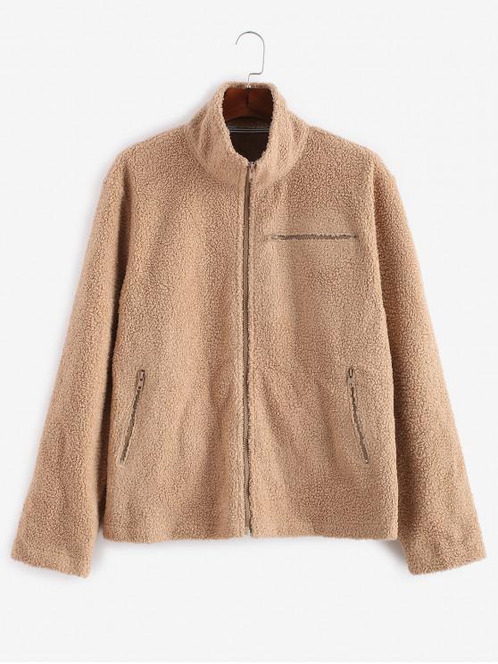 lady ZAFUL Letter Embroider Fluffy Faux Fur Zipper Coat - TAN M