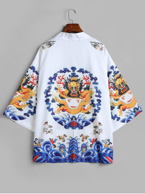 online Dragon Print Kimono Cardigan - WHITE M