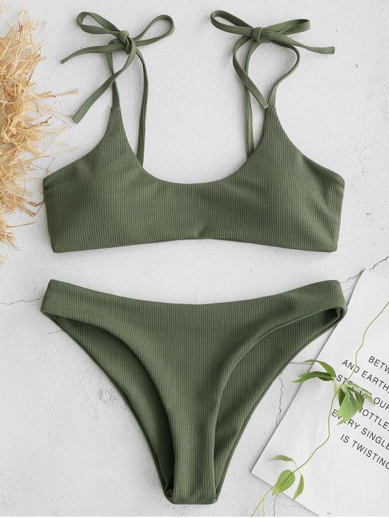 online ZAFUL Tie Shoulders Ribbed Bikini - CAMOUFLAGE GREEN M