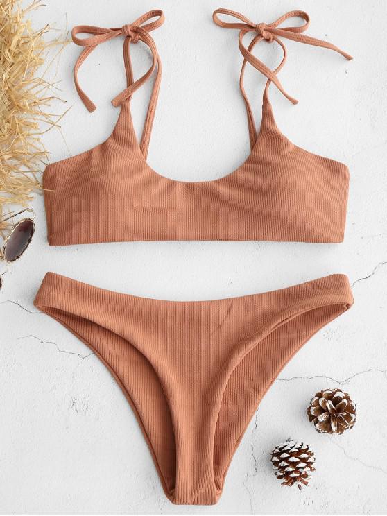 buy ZAFUL Tie Shoulders Ribbed Bikini - DARK SALMON L
