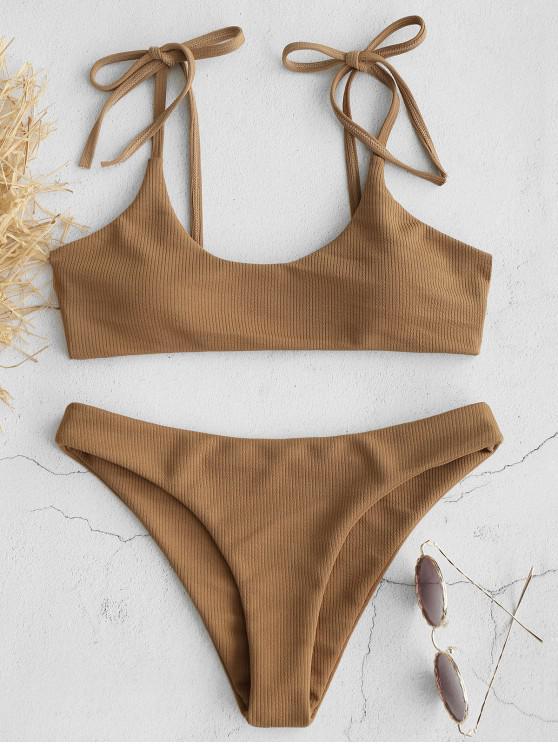 new ZAFUL Tie Shoulders Ribbed Bikini - CAMEL BROWN L