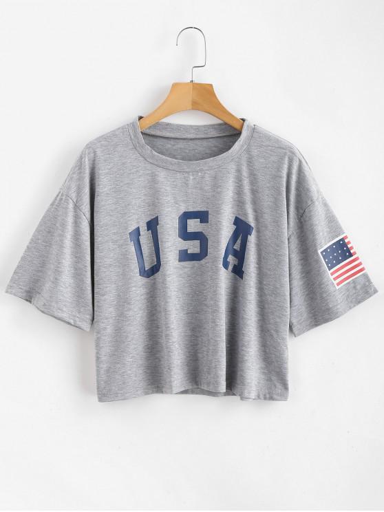 women's ZAFUL American Flag Graphic Tee - GRAY GOOSE M