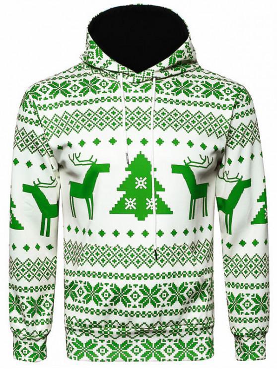 trendy Hooded Christmas Snowflake Geometric Print Hoodie - YELLOW GREEN M