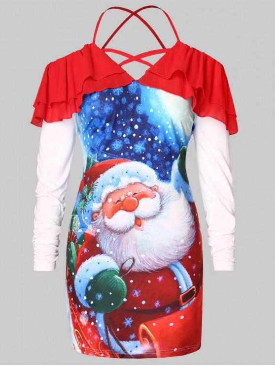 ladies Plus Size Cold Shoulder Santa Claus Print Christmas T-shirt - RED 1X