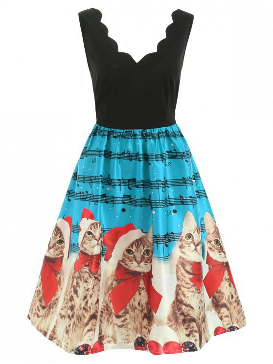 womens Christmas Musical Notes and Cats Flare Dress - OCEAN BLUE 2XL