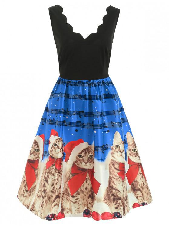 Christmas Musical Notes and Cats Flare Dress - Celeste S