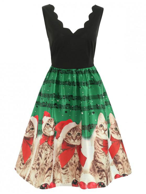 Christmas Musical Notes and Cats Flare Dress - Deep Green S