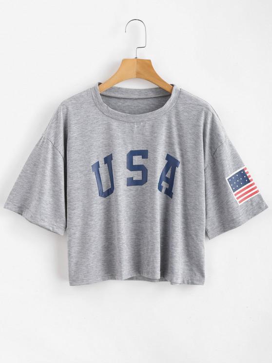 women ZAFUL American Flag Graphic Tee - GRAY GOOSE S