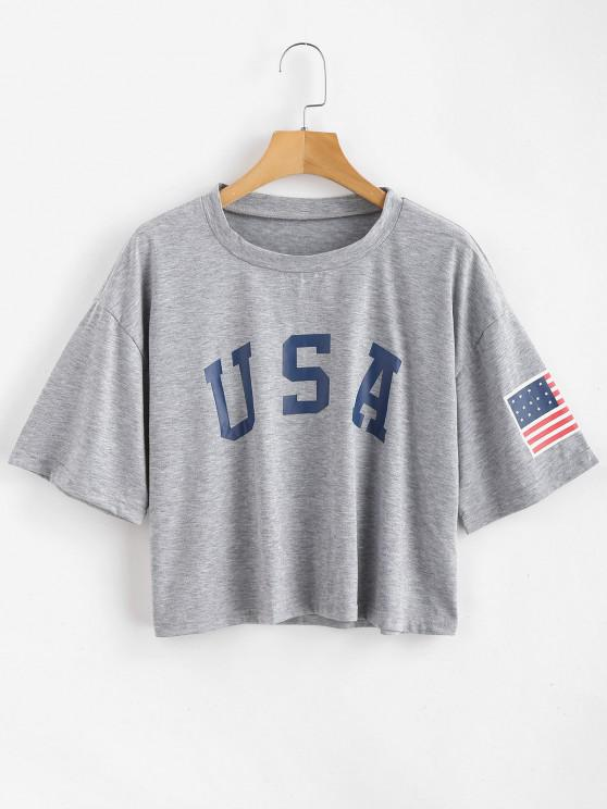 ladies ZAFUL American Flag Graphic Tee - GRAY GOOSE L