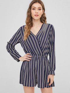 V Neck Striped Wide Leg Romper - Midnight Blue L