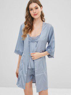 Pijamas Con Ribete De Encaje Satinado Y Bata - Azul Gris M