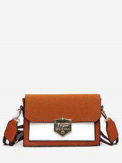 Striped Shoulder Strap Hasp Design Crossbody Bag - Light Brown