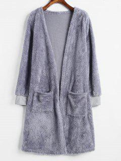 Two Pocket Open Front Fluffy Coat - Blue Gray S