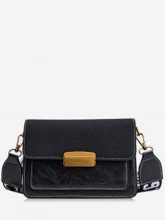 Scrub Leather Cover Design Crossbody Bag - Black