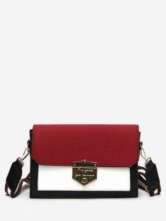 Striped Shoulder Strap Hasp Design Crossbody Bag - Red Wine