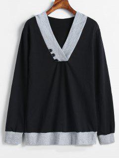 Color Block Button Embellished Longline Hoodie - Black 2xl