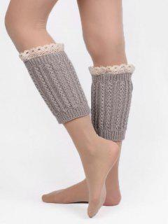 Lace Knitted Short Leg Warmers - Gray Cloud