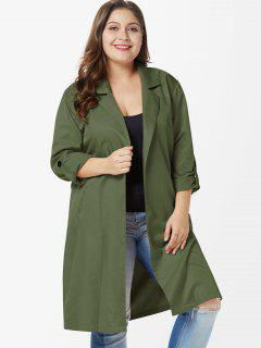 Side Slit Plus Size Knee Length Coat - Army Green 1x