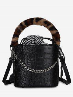 Mini Leopard Pattern Bucket Tote Bag - Black