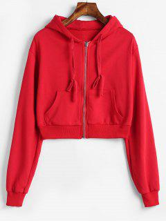 Drop Shoulder Zipper Crop Hoodie - Red