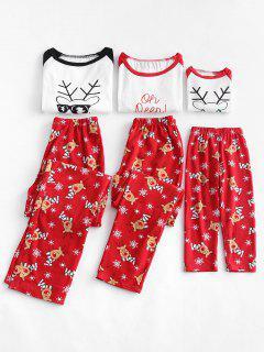 Pijamas Navideños Con Estampado De Copos De Nieve De Reno - Rojo Papá M