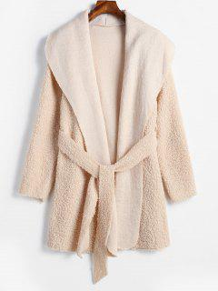 Belted Open Front Faux Shearling Coat - Apricot Xl