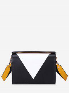 Geometric Design Magnet Hook Crossbody Bag - Black