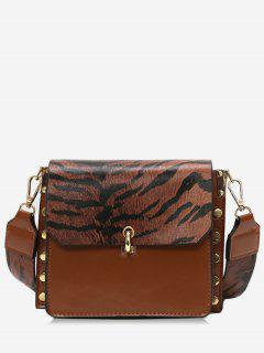Color Block Rivet Cover Design Crossbody Bag - Brown