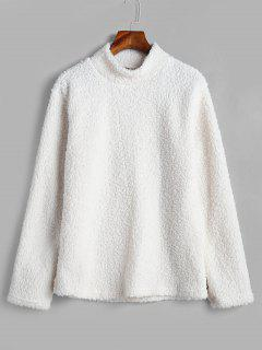 High Collar Fluffy Pullover Faux Fur Sweatshirt - White L