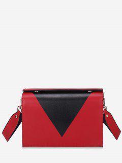 Geometric Design Magnet Hook Crossbody Bag - Red