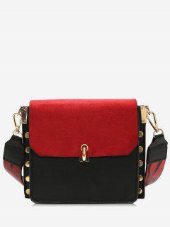 Color Block Rivet Cover Design Crossbody Bag - Red