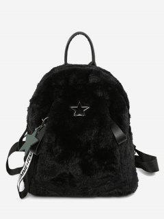 Star Printed Fluffy School Backpack - Black