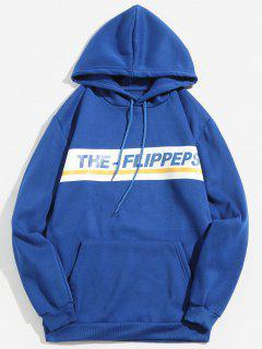 Letter Print Pullover Fleece Hoodie - Blue L