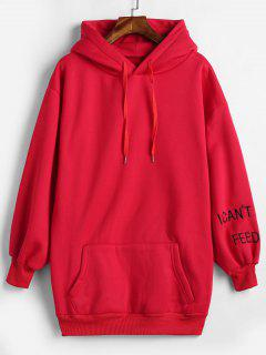 Fleece Lining Letter Embroidered Longline Hoodie - Red Xl