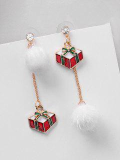 Asymmetric Christmas Gift And Rhinestone Earrings - Red