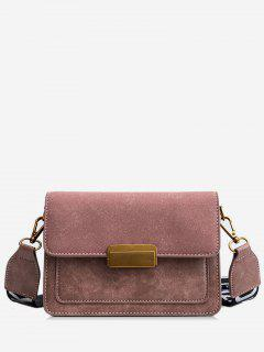 Scrub Leather Cover Design Crossbody Bag - Orange Pink