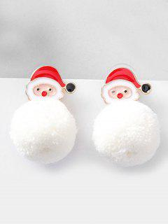 Christmas Santa And Fluffy Ball Decoration Earrings - Red